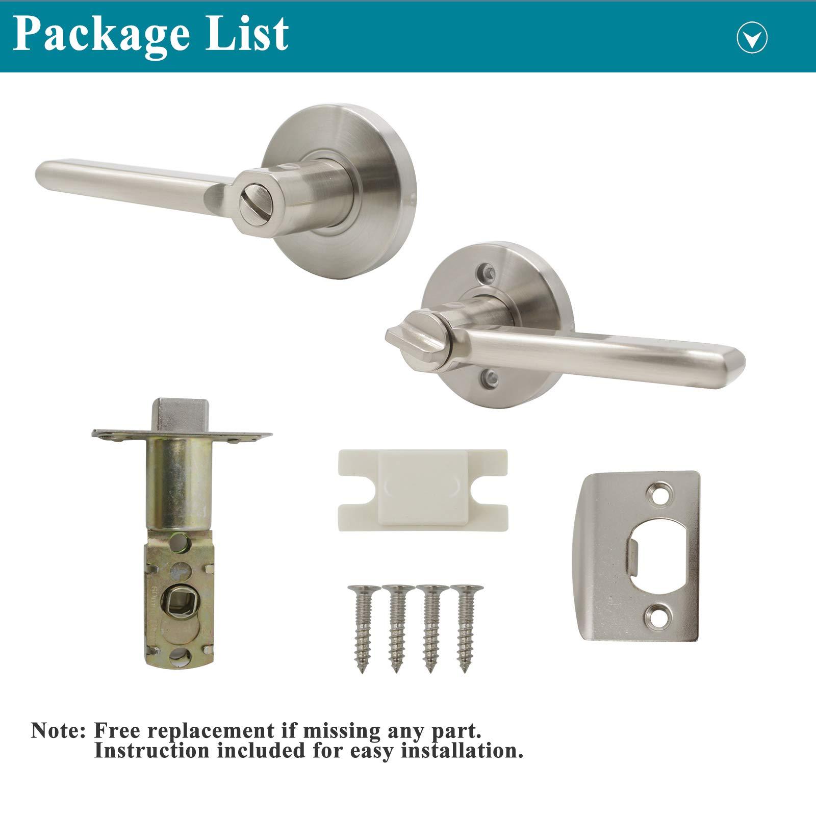 Probrico Bed/Bath Room Door Lever Modern Flat Handles in Satin Nickel, Privacy Door Lever Locks, Contractor Pack(10Pack) by Probrico (Image #6)