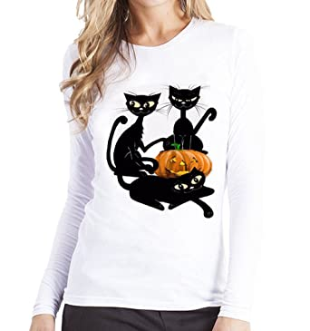 ae007187 Goddessvan Happy Halloween Women Plus Size Pumpkin Printed Tees Shirt Long  Sleeve T Shirt Blouse (