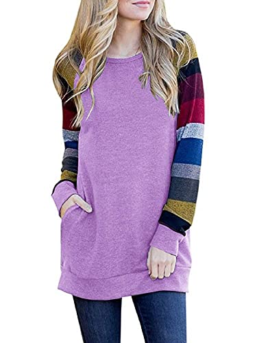 Yacooh Womens Crewneck Sweatshirts Color Block Long Sleeve Raglan Pocket Tunic Top Purple