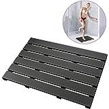 Bath Mat for Bathroom Luxury Shower - Non-Slip Bamboo Wooden Waterproof Floor Mat for Indoor or Outdoor Use (Black)