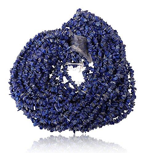 Ratnagarbha Natural Lapis Lazuli Tumbled Nuggets Uncut Chips Gemstone Loose Beads, 2 Strand 34