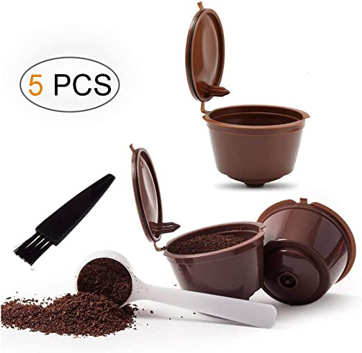 Umiwe Filtros Cápsulas de Café Puede Rellenables 3 Pcs Recargable Reutilizable para Cafetera Dolce Gusto con 1 Cucharón de Plástico y 1 Cepillo de Limpieza (Marrón): Amazon.es: Hogar