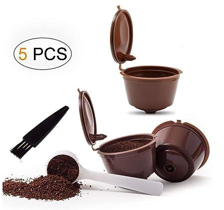 Umiwe Filtros Cápsulas de Café Puede Rellenables 3 Pcs Recargable Reutilizable para Cafetera Dolce Gusto con 1 Cucharón de Plástico y 1 Cepillo de ...