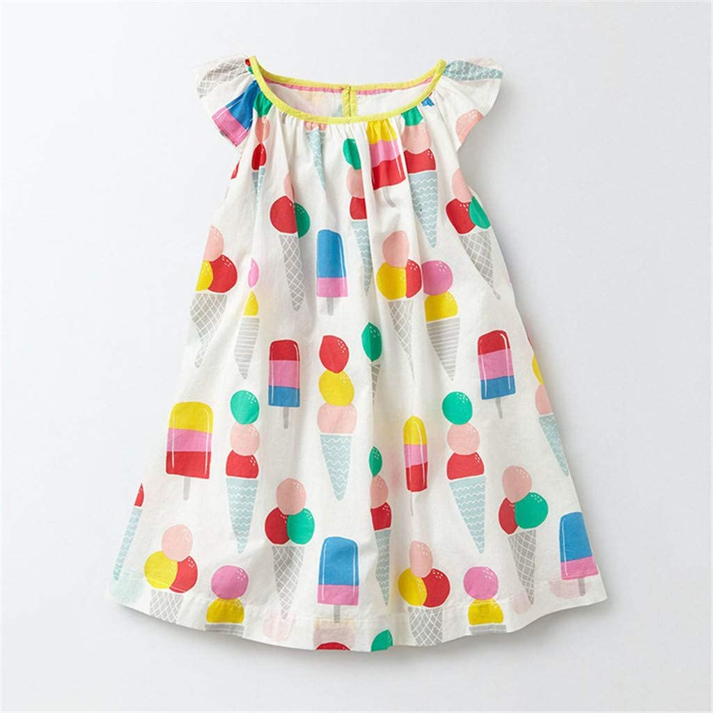 Baby Girls Sundress Summer Cartoon Ice-Cream Printed Princess Dress 1-6T Little Kid Toddler Baby Girl Ruffles Skirt