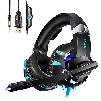 Auriculares Gaming Cascos con Microfono HUOU Cascos Gaming con Luz LED para PS4 / PC /