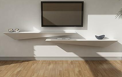 Estantería de diseño en madera lacada blanco mate cm 110x30 (Derecha) - Soporte de pared TV para TV LCD LED de 32 a 65 pulgadas