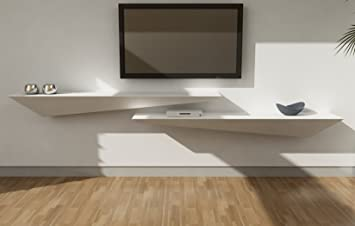 Mensola design porta tv a muro parete legno laccato bianco opaco