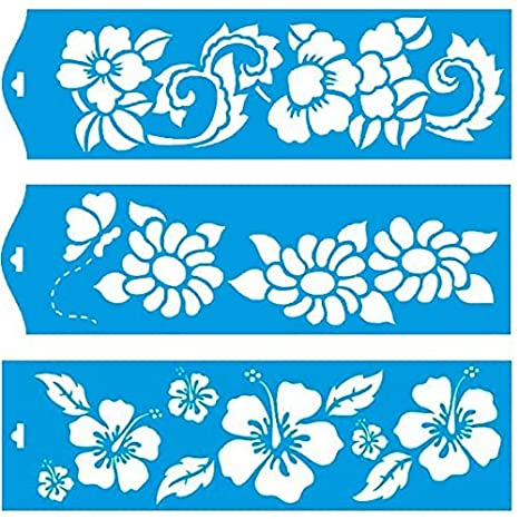 Set of 3 - 28cm x 8cm Reusable Flexible Plastic Stencil for Graphical  Design Airbrush Decorating Wall Furniture Fabric Decorations Drawing  Drafting