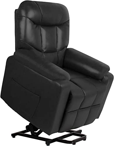 Massage Recliner Chair for Living Room Home Theater Seating Single Recliner Sofa Modern Power Lift Chair for Elderly Office Reclining Lounge Black