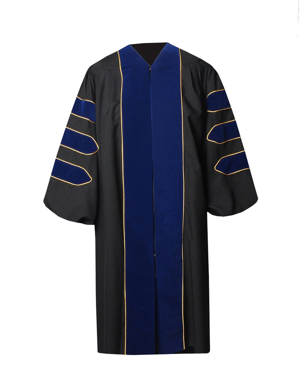 GraduationForYou Doctoral Gown With Velvet and Gold Piping,Royal Blue,45''(5'0''-5'2'')