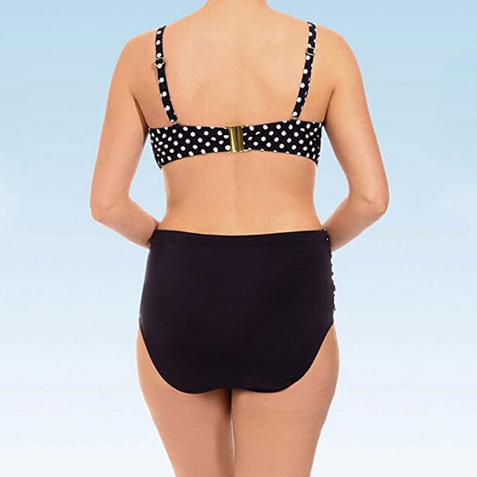 Damen Bikini Set Push Up Sport Punktdruck Bikinis Tankini Bademode Badeanzug Retro Gro/ß Gr/ö/ße Bikini Sets Plus Size Bandeau High Waist Bikini Damen Bauchweg TWBB
