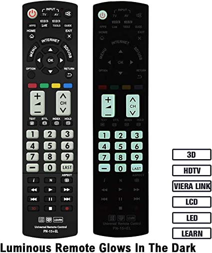 Gvirtue - Mando a Distancia Universal con Botones Luminosos para Panasonic TV/Viera Link/HDTV/3D/LCD/LED, N2QAYB000485 N2QAYB000100 N2QAYB000221 N2QAYB00048: Amazon.es: Electrónica