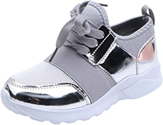 Moonker Boys Girls Kids Sports Running Shoes Sneakers 7-12 Years Old Children Teen Mesh Lightweight Casual Tennis Shoes