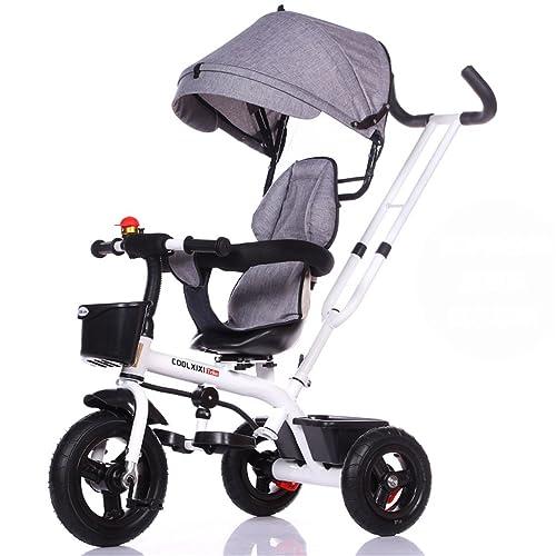 De luxe multifonction 4-en-1 Enfant Tricycle Vélo Vélo Fille Vélo Pour 6 Mois -6 Ans Bébé Trois Roues Chariot Avec Auvent et Parent Poignée | Amortissement | Sièges rotatifs |