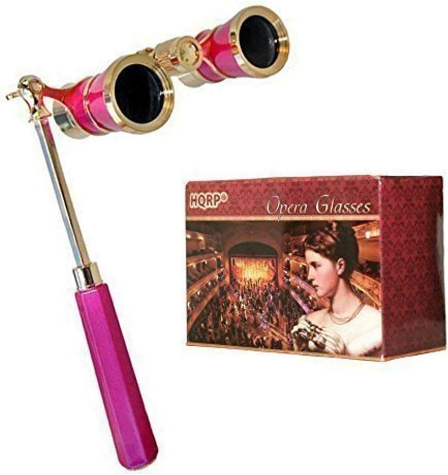 HQRP Opera Glasses Rose/Pink-pearl with Gold Trim w/Crystal Clear Optic (CCO), Extendable Handle