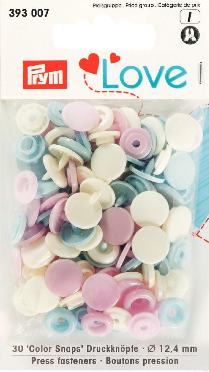 PRYM 393007 Color Snaps bottoni automatici in LOVE 12,4 mm rosa/celeste/perla, 30 pcs ***SI PREGA DI PRESTARE ATTENZIONE A DESCRIZIONE DEL PRODOTTO*** PRYM_393007-1