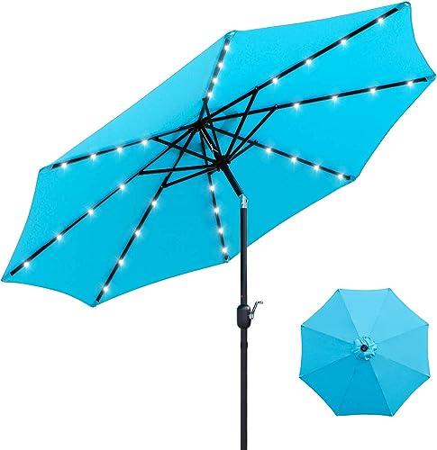 Viewee 32 LED Solar Patio Umbrella 9 FT Solar Patio Umbrella