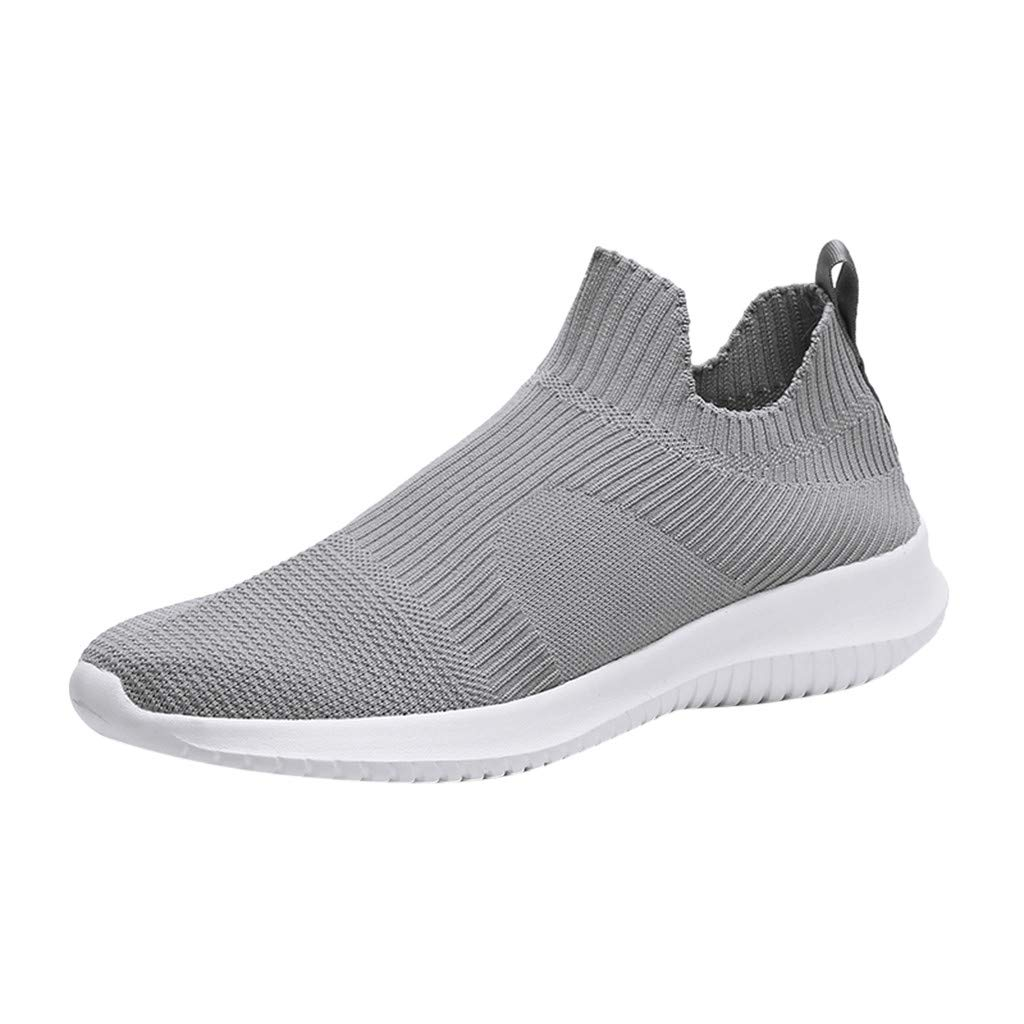 Caopixx Sneakers for Men Mesh Breathable Flat Sneakers Embroidery Running Shoes Casual Slip-on Shoes Gray