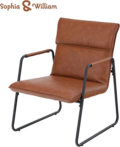 Sophia William Sofa Chair Modern Steel Frame Accent Lounge Chair Mid Century Retro Soft Leather Low Lounge Arm Chair for Living Room Home Bedroom Brown