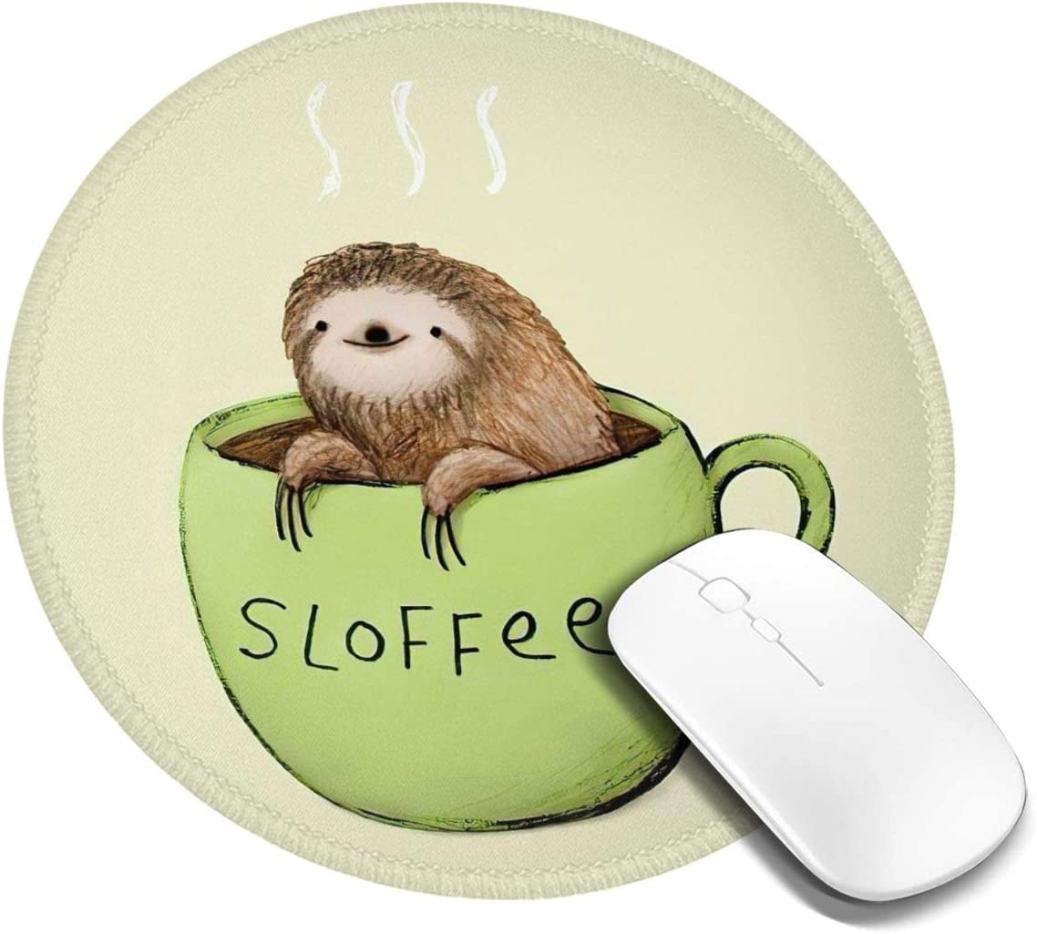 Cute Sloth Mouse Pad, Personalized Printed Mouse Mat, Non-Slip Rubber Base Mousepad for Laptop, Computer 7.9x7.9 Inches
