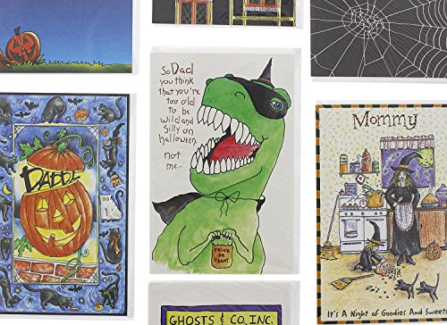 Halloween Card Assortment 50 Pack- Greeting Cards with Envelopes (Halloween Pumpkin Note Cards)