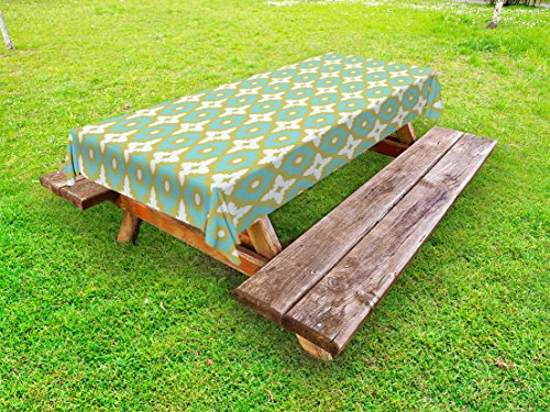 Ambesonne Floral Outdoor Tablecloth, Floral Shaped Pastel Toned Ceramic Tile Style Ornate Arabian Mosaic Pattern, Decorative Washable Picnic Table Cloth, 58 X 120 inches, Khaki Turquoise by Ambesonne