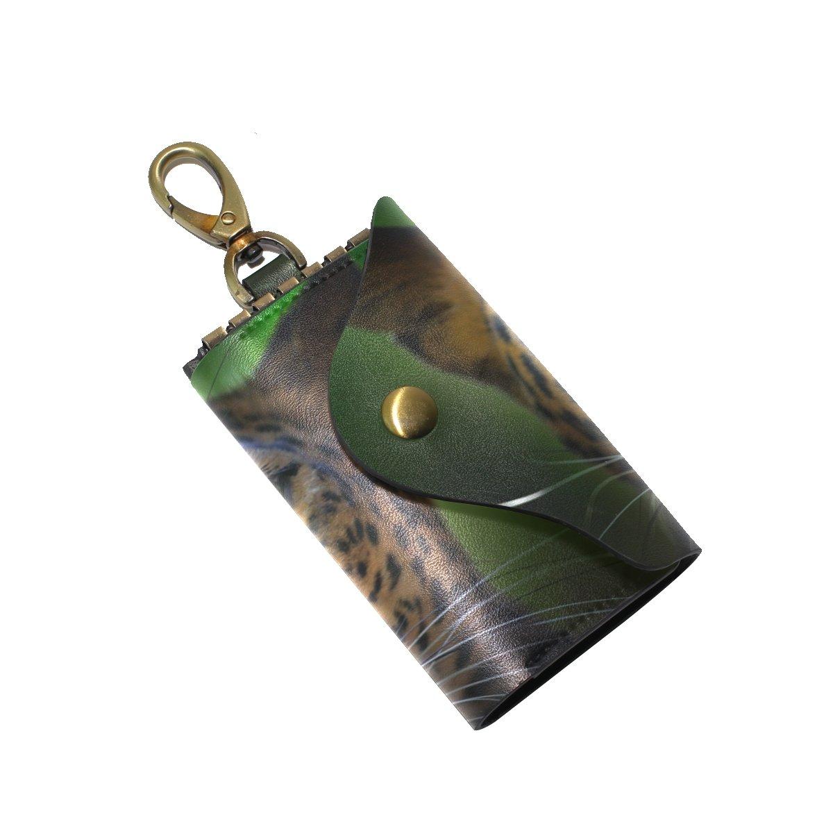 KEAKIA Wild Cat Leopard Leather Key Case Wallets Tri-fold Key Holder Keychains with 6 Hooks 2 Slot Snap Closure for Men Women