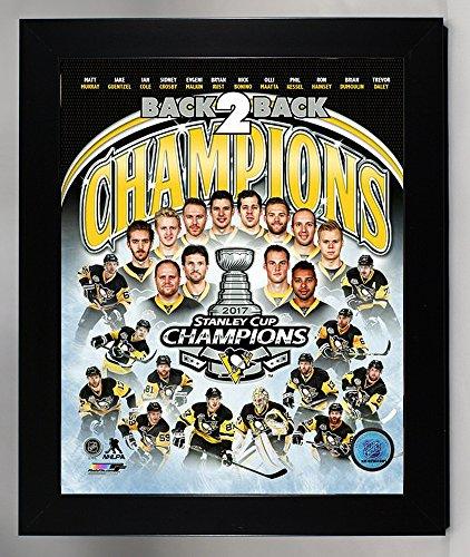 Framed Pittsburgh Penquins Sidney Crosby & Evgeni Malkin Team Collage! 2017 Stanley Cup Champion 8x10 Photo Collage Picture (coll) (Penguins Pittsburgh Crosby Sidney Framed)