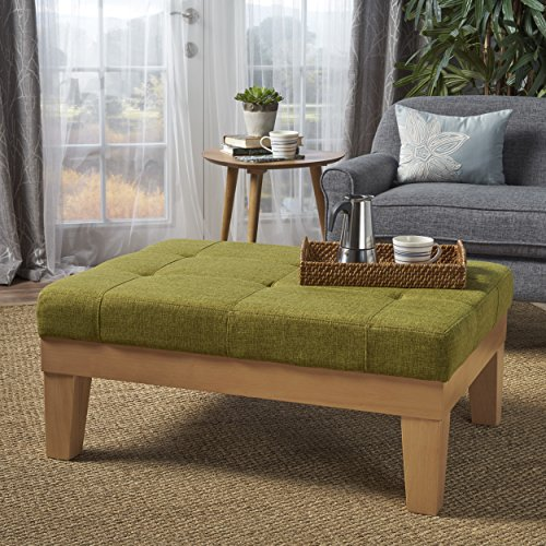 Gerstad Ottoman Coffee Table | Mid Century, Danish, Modern Styling | Upholstered in Green Fabric