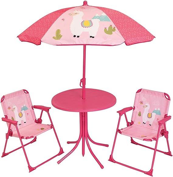 Fun House 713141 Lola Le Lama - Salón de jardín con 1 Mesa, 2 sillas Plegables y 1 sombrilla para niños: Amazon.es: Jardín