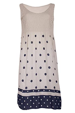 Moda Italy Damen Sommerkleid Knielang Strandkleid Tunika Freizeitkleid  Ärmellos Polka Dots Muster Spitze (One Size