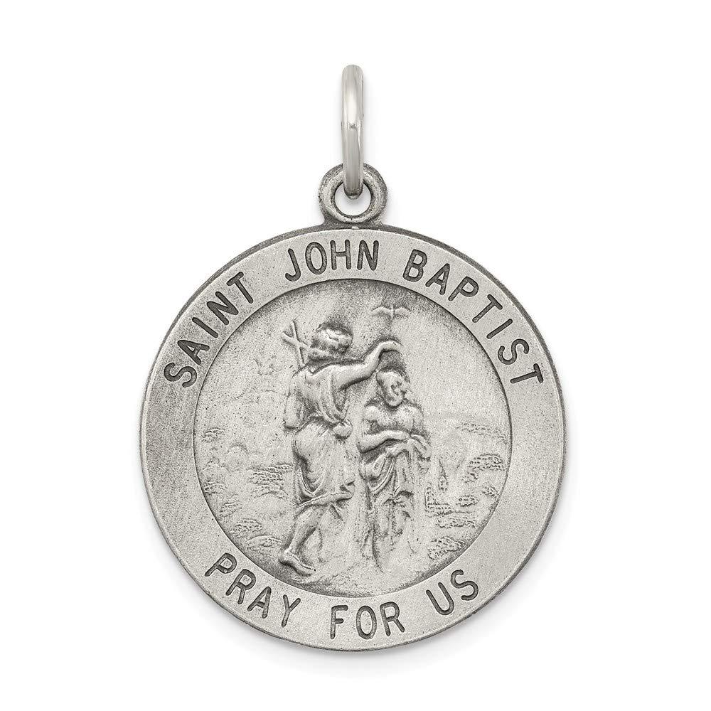 925 Sterling Silver Saint John The Baptist Medal Pendant Charm Necklace Religious...