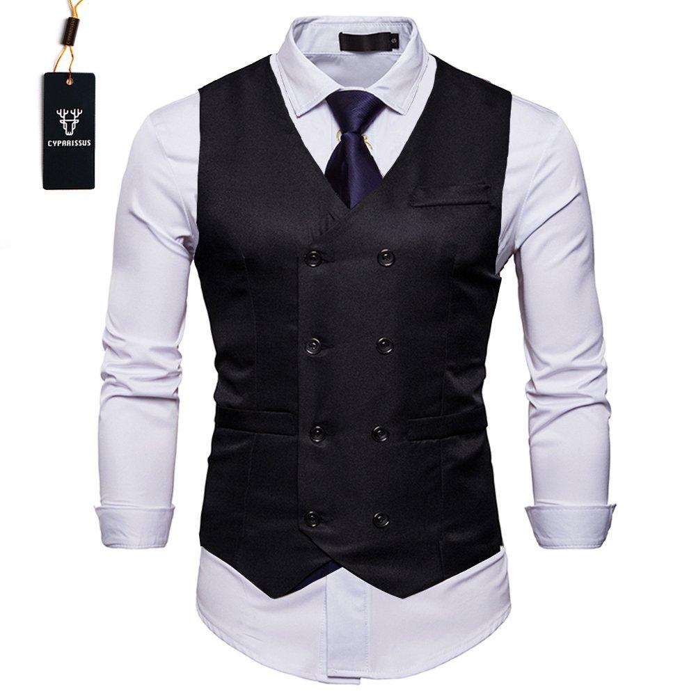 Cyparissus Mens Vest Waistcoat Men's Suit Dress Vest For Men or Tuxedo Vest (M, Black 3#)