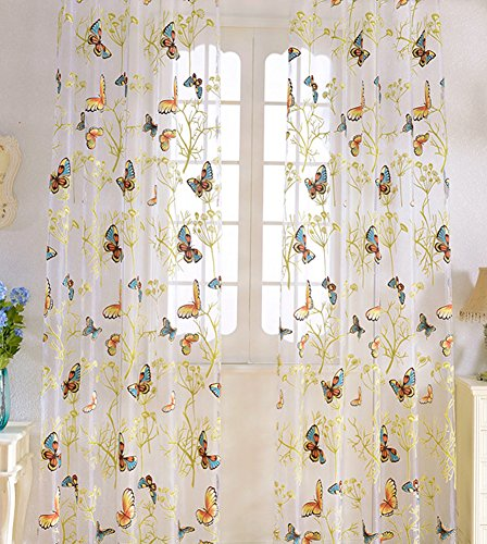 (Aside Bside Butterfly Tree Print Countryside Sheer Voile Window Rod Pocket Top Curtain Curtains Drapes Treatment for Living Dining Room(1 Panel, W 100 x L 84 inch, White))