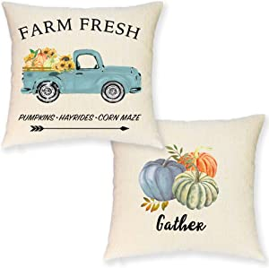JYNHOOR Pumpkin Fall Pillow Covers 18x18 Inch– Set of 2 Watercolor Farmhouse Pumpkin Sunflower Retro Truck Pillow Covers for Fall Decor-Autumn/Harvest/Fall Decorative Pillow Case for Couch