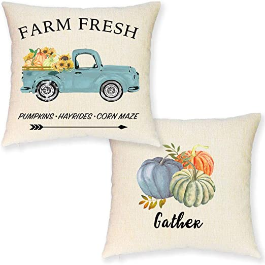 Jynhoor Pumpkin Fall Pillow Covers 18x18 Inch Set Of 2 Watercolor Farmhouse Pumpkin Sunflower Retro Truck Pillow Covers For Fall Decor Autumn Harvest Fall Decorative Pillow Case For Couch Home Kitchen
