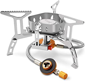 Portable Gas Stove for Camping Backpacking Hiking Small Ultralight Butane, Propane and Other Fuel Burner 3500W Convenient Piezo Ignition, included Storage Case