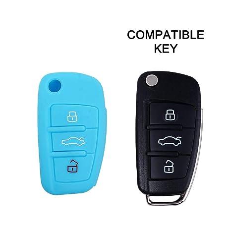 Cubierta de silicona para llave con control remoto Audi A1 A3 A4 A6 A8 TT Q5 Q7 R8 S4 S6 Varios colores, Idea para regalo, Llavero (AZUL CLARO)
