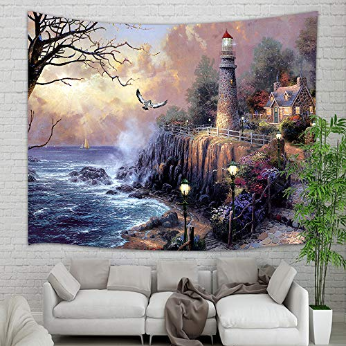 Lighthouse Photo Art (KOTOM Lighthouse Tapestry Wall Hanging, Painting Lighthouse by Ocean Coast with Wooden House Wall Tapestry Art for Home Decorations Dorm Decor Living Room Bedroom Bedspread,60