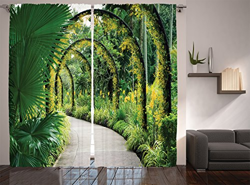 Ambesonne Country Home Decor Collection, Scenic Artificial Arcs with Many Orchids in Botanical Garden Tropical Pants Park, Living Room Bedroom Curtain 2 Panels Set, 108 X 90 Inches, Green Yellow