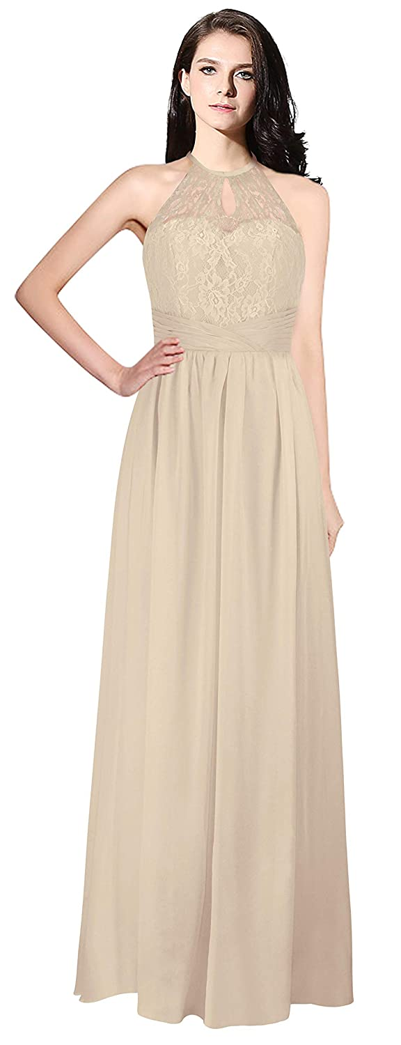 Champagne MaliaDress Womens Backless Long Halter Bridesmaid Dress Prom Gown M266LF