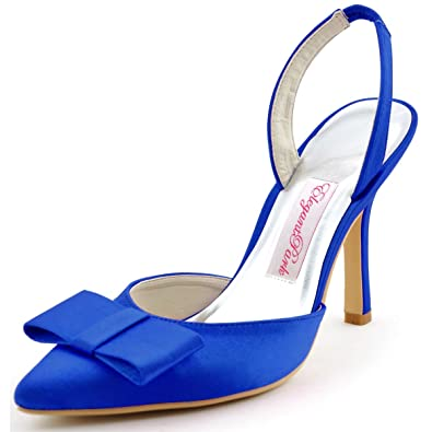 c20098b37b5 ElegantPark HC1404 Women s Pointy Toe Stiletto Heel Slingbacks Bow Satin  Evening Party Dress Pumps Blue US
