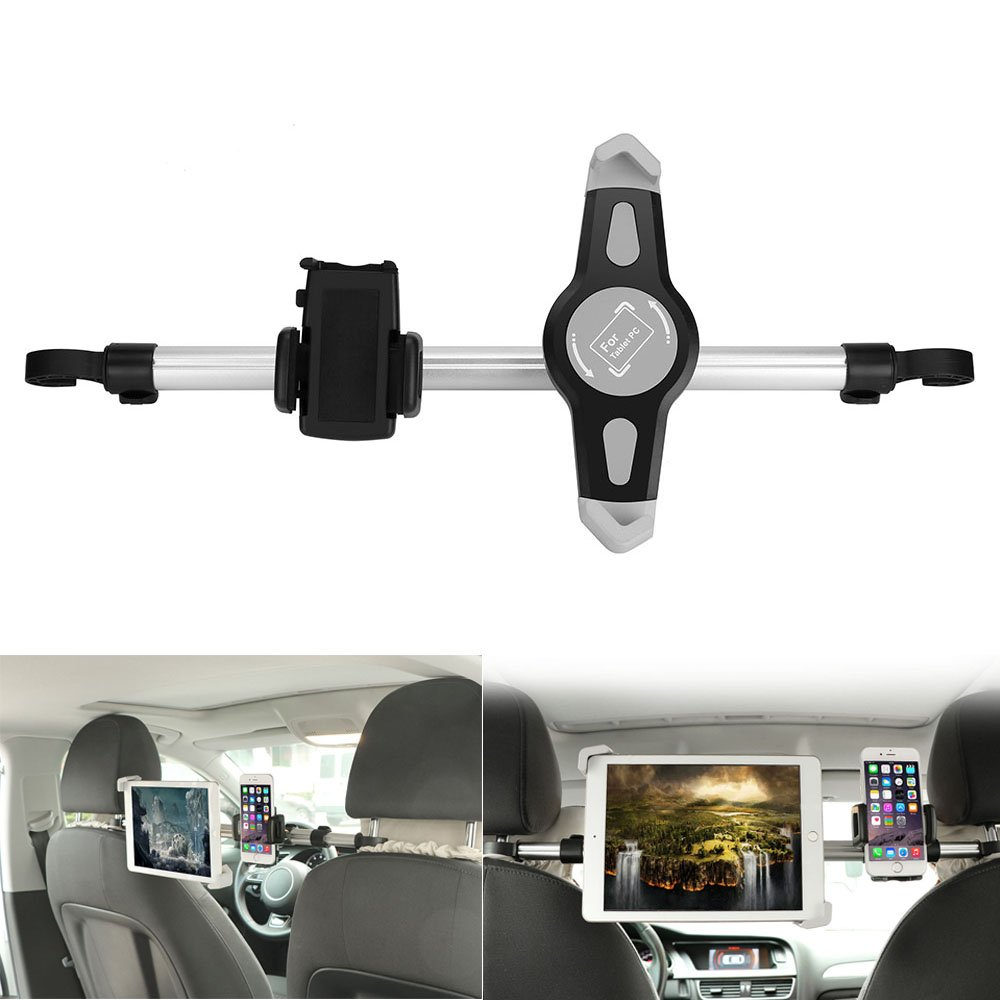 Konesky Car Headrest Mount Holder for Tablet, Car Bracket with 360 Degree Rotation for 7-10.5 Inch Tablet and the Width of 1.6-3.5 Inch Phone