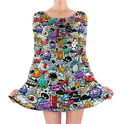 Queen of Cases - Robe - Patineuse - Manches Longues - Femme multicolore multicolore One Size