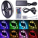 Relohas Led Strip Light,16.4ft Waterproof LED Flexible Light, 150 Units SMD 5050 LEDs, 12V DC RGB Led Strip Kits With 44 Key IR Remote Controller DIY for Christmas Holiday Home Kitchen Car Decoration