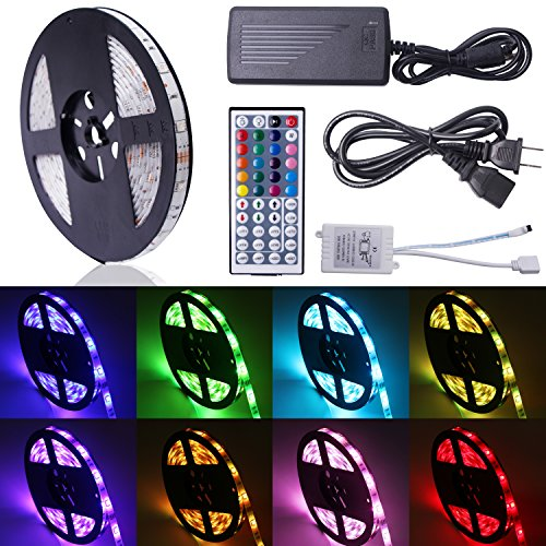 Relohas Led Strip Light,16.4ft Waterproof LED Flexible Light, 150 Units SMD 5050 LEDs, 12V DC RGB Led Strip Kits With 44 Key IR Remote Controller DIY for Christmas Holiday Home - Rope Kitchen