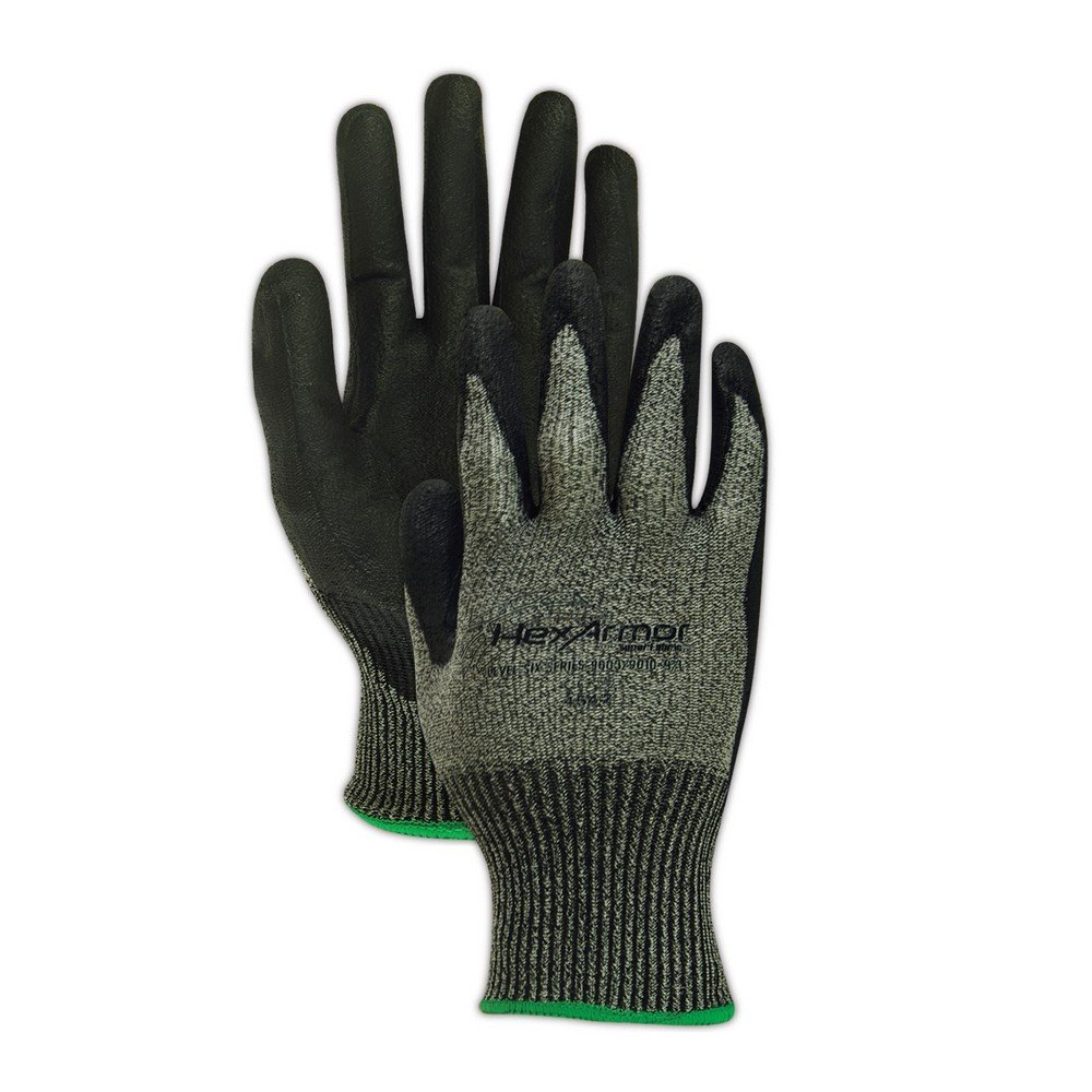 HexArmor 9003-11 and Grey Palm Coated Gloves, 2XL, Black
