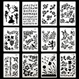 #9: DEPEPE Plastic Stencils for Bullet Journal Painting Craft, Pack of 12