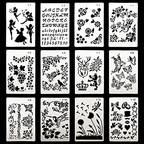 - DEPEPE Plastic Stencils for Journal Painting Craft, Pack of 12
