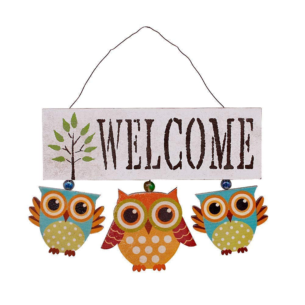 Rainbow Handcrafts Wood Owl Welcome Sign Wall Art Décor Hanging Primitive Country Wooden Owl Wall Ornament Kitchen Bathroom Porch Patio Garden Outdoor Decoration